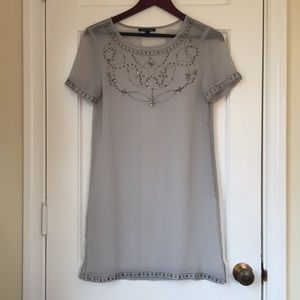 American Eagle Gray Sheer Beaded Dress Size 4